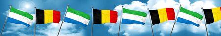 Sierra Leone flag with Belgium flag, 3D rendering Stock Photo
