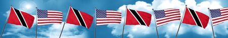 Trinidad and tobago flag with American flag, 3D rendering