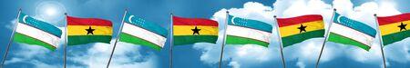 ghanese: Uzbekistan flag with Ghana flag, 3D rendering