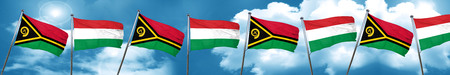 Vanatu flag with Hungary flag, 3D rendering