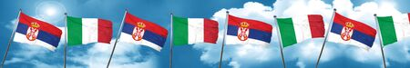 Serbia flag with Italy flag, 3D rendering