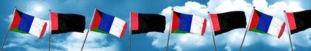 Western sahara flag with France flag, 3D rendering