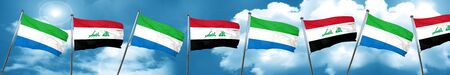 Sierra Leone flag with Iraq flag, 3D rendering