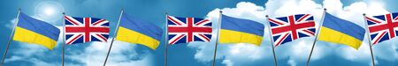 bandera de gran bretaña: Ukraine flag with Great Britain flag, 3D rendering Foto de archivo