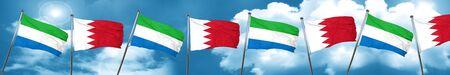 Sierra Leone flag with Bahrain flag, 3D rendering Stock Photo