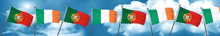 Portugal flag with Ireland flag, 3D rendering