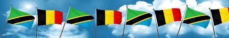 Tanzanian flag with Belgium flag, 3D rendering