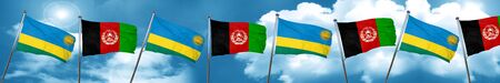 Rwanda flag with afghanistan flag, 3D rendering Stock Photo