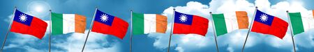 Taiwan flag with Ireland flag, 3D rendering