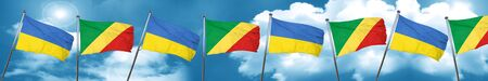 Ukraine flag with congo flag, 3D rendering