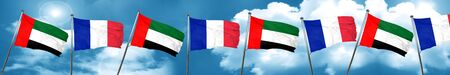 french culture: uae flag with France flag, 3D rendering