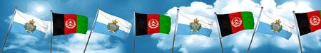 san marino flag with afghanistan flag, 3D rendering