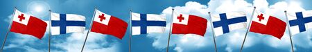 tonga: Tonga flag with Finland flag, 3D rendering Stock Photo