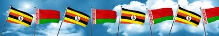 Uganda flag with Belarus flag, 3D rendering