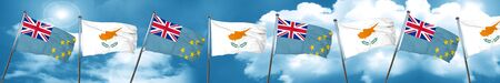 Tuvalu flag with Cyprus flag, 3D rendering