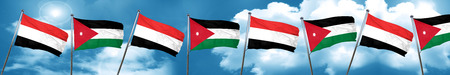 yemen: Yemen flag with Jordan flag, 3D rendering