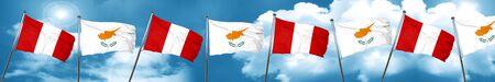 bandera de peru: Peru flag with Cyprus flag, 3D rendering