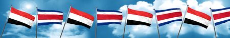 Yemen flag with Costa Rica flag, 3D rendering