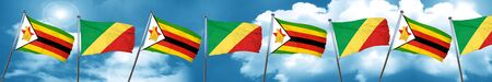 Zimbabwe flag with congo flag, 3D rendering Stock Photo