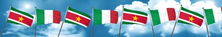 Suriname flag with Italy flag, 3D rendering Stock Photo