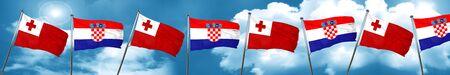 tonga: Tonga flag with Croatia flag, 3D rendering Stock Photo