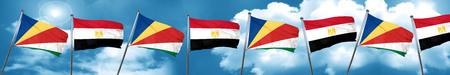 seychelles flag with egypt flag, 3D rendering