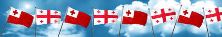Tonga flag with Georgia flag, 3D rendering Foto de archivo