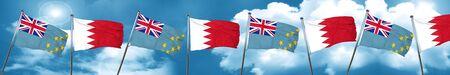 tuvalu: Tuvalu flag with Bahrain flag, 3D rendering