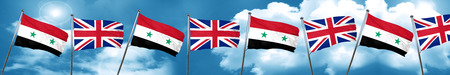 Syria flag with Great Britain flag, 3D rendering Stock Photo