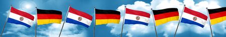 bandera de paraguay: Paraguay flag with Germany flag, 3D rendering
