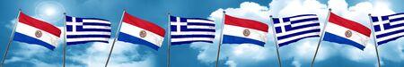 bandera de paraguay: Paraguay flag with Greece flag, 3D rendering