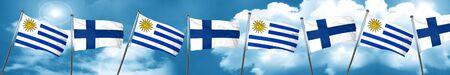 bandera de uruguay: Bandera de Uruguay con la bandera de Finlandia, representación 3D Foto de archivo