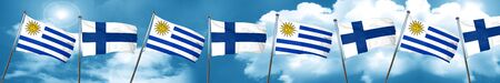 finnish: Uruguay flag with Finland flag, 3D rendering