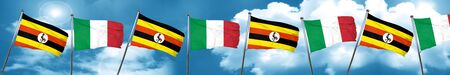 combines: Uganda flag with Italy flag, 3D rendering Foto de archivo