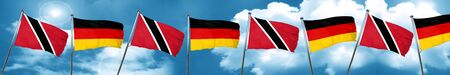 Trinidad and tobago flag with Germany flag, 3D rendering