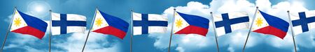 Philippines flag with Finland flag, 3D rendering