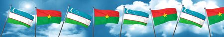 combines: Uzbekistan flag with Burkina Faso flag, 3D rendering