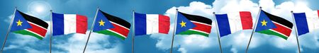 french culture: south sudan flag with France flag, 3D rendering Stock Photo