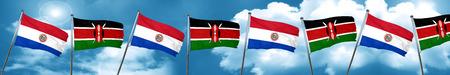 bandera de paraguay: Paraguay flag with Kenya flag, 3D rendering Foto de archivo