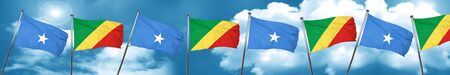 Somalia flag with congo flag, 3D rendering Stock Photo