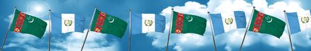 Turkmenistan flag with Guatemala flag, 3D rendering Stock Photo