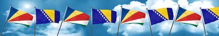 seychelles flag with Bosnia and Herzegovina flag, 3D rendering Stock Photo