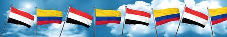 yemen: Yemen flag with Colombia flag, 3D rendering