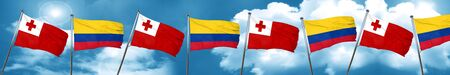 Tonga flag with Colombia flag, 3D rendering Stock Photo