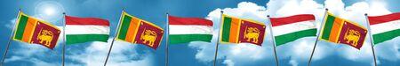 Sri lanka flag with Hungary flag, 3D rendering