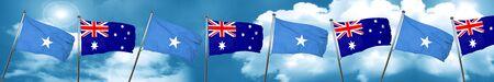 australian culture: Somalia flag with Australia flag, 3D rendering