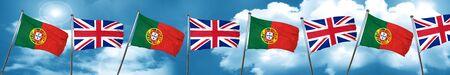 bandera de gran bretaña: Portugal flag with Great Britain flag, 3D rendering Foto de archivo