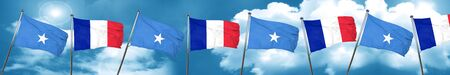 Somalia flag with France flag, 3D rendering Stock Photo