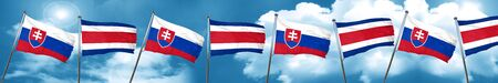 Slovakia flag with Costa Rica flag, 3D rendering