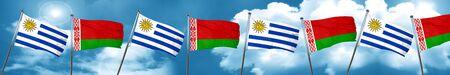 bandera de uruguay: Bandera de Uruguay con la bandera de Bielorrusia, 3D Foto de archivo